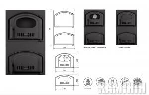 Чугунные дверцы двойные 305x505 мм