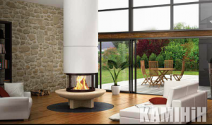 Fireplace Totem Panoramiqe Suspendu 900 with stand