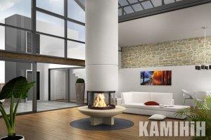 Fireplace Totem Panoramiqe Suspendu 900 with stand