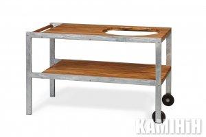 Масивний дерев'яний стіл з корпусом з оцинкованої сталі